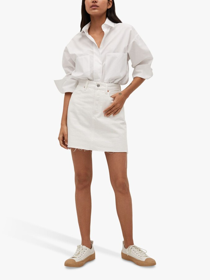 Thumbnail for your product : MANGO Rachel Frayed Hem Mini Denim Skirt