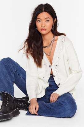 Nasty Gal Womens Knit's Love Diamante Pointelle Cardigan - white - L