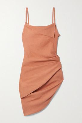 Jacquemus Saudade Asymmetric Draped Hemp-blend Mini Dress - Orange