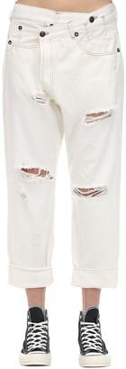 R 13 Crossover Distressed Cotton Denim Jeans