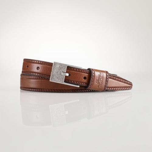 Ralph Lauren Equestrian Tooled Bar Belt