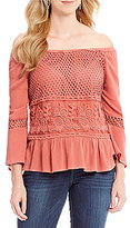 Democracy 3/4 Bell Sleeve Babydoll Off-The-Shoulder Top