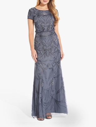 Adrianna Papell Long Beaded Cocktail Dress