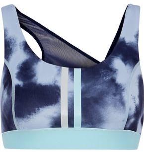 Iris & Ink Mesh-paneled Striped Tie-dyed Stretch Sports Bra