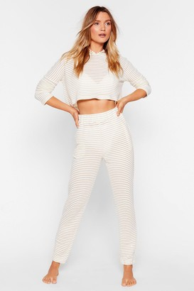 Nasty Gal Womens Three Stripes and You're Out Jacquard Jogger - Beige - 10