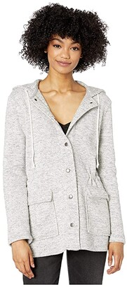 BB Dakota Snap Closure Knit Jacket with Patch Pockets (Ivory) Women's Jacket