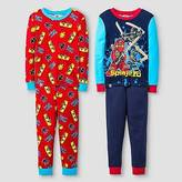 Lego Boys' ; Ninjago 4 Piece Cotton Pajama Set - Red