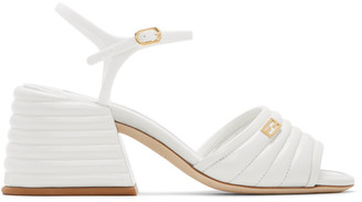 Fendi White Leather Slingback Heels