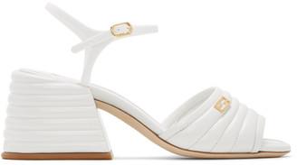 Fendi White Leather Slingback Heels