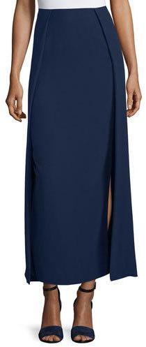 Ralph Lauren High-Waist Carwash Midi Skirt, Navy