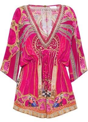 Camilla Lounge Hour Embellished Printed Silk Crepe De Chine Playsuit