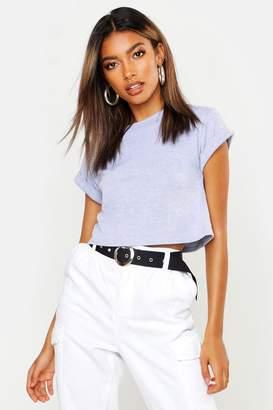 boohoo Basic Roll Sleeve Crop T-Shirt