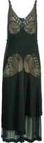 Stella McCartney Dondini Lace-paneled Pleated Satin Dress - Forest green