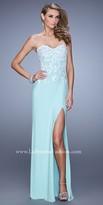 La Femme Beaded Contrast Lace Applique Prom Dress