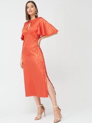 Little Mistress Short Sleeved Midaxi Jacquard Dress - Salsa