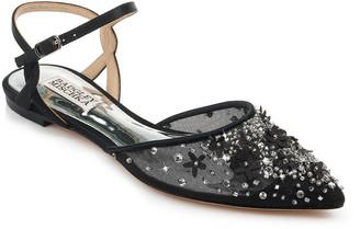 Badgley Mischka Carissa Bejeweled Floral Mesh Ballet Flats