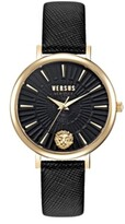 Thumbnail for your product : Versus By Versace Versus Women's Mar Vista Black Leather Strap Watch 34mm