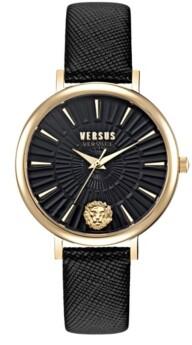 Versus By Versace Versus Women's Mar Vista Black Leather Strap Watch 34mm