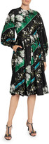 Erdem Vernia Floral & Diagonal-Striped Satin Long-Sleeve Dress