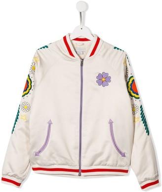 Stella McCartney TEEN floral embroidered bomber jacket