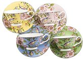 Aynsley Pembroke Windsor Teacups and Saucers, Set of 4