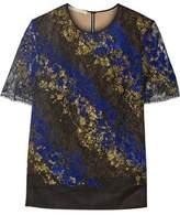 Antonio Berardi Metallic Flocked Lace And Tulle Top