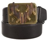 Gianfranco Ferre Gold-Tone Leather Belt