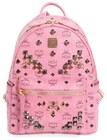 mcm small stark visetos studded backpack pink
