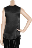 L'Agence Leather-trimmed silk-satin top