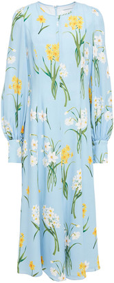 Andrew Gn Gathered Floral-print Silk-crepe Midi Dress