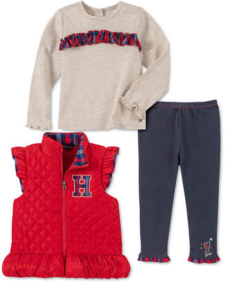 Tommy Hilfiger Toddler Girls 3-Pc. Ruffled Vest, Plaid-Trim Top & Faux-Denim Leggings Set