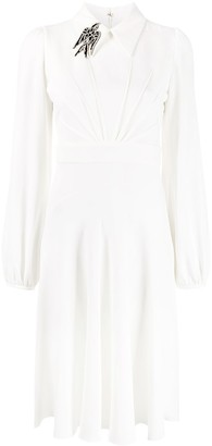 No.21 long-sleeved flared pleated dress