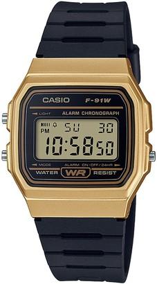 Casio Digital Gold Tone Case Black Strap Watch