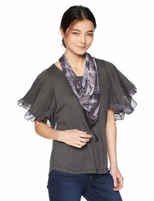 One World OneWorld Women's Petite Ruffle Sleeve Scarf Top