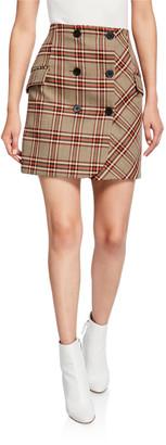 Derek Lam 10 Crosby Double-Breasted Check Mini Skirt