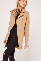 Missguided Petite Faux Wool Biker Coat Camel