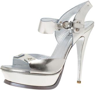 Saint Laurent Paris Metallic Silver Leather Ankle Strap Platform Sandals Size 41