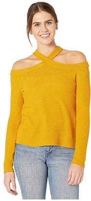 1 STATE Long Sleeve High Neck Cold-Shoulder Cozy Top (Medium Heather Grey) Women's Sweater