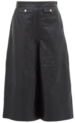 Current/Elliott X Vampires Wife X Vampires Wife - High-rise Leather Culottes - Womens - Black