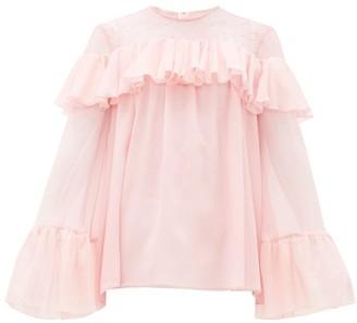 Giambattista Valli Chantilly Lace-trimmed Ruffled Silk Blouse - Womens - Light Pink