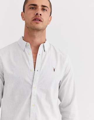 AllSaints regular fit shirt with ramskull in grey stripe
