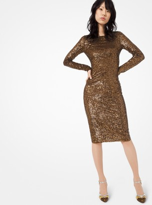 Michael Kors Sequined Stretch-Tulle Dress