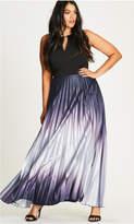City Chic Silver Siren Pleated Maxi Dress