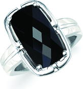 Black Onyx Sterling Silver Channel Accented Ring by Boston Bay Diamonds
