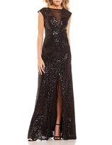 B. Darlin Embroidered Mesh Yoke Sequin Long Dress