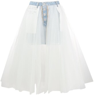 Unravel Project denim tulle midi skirt