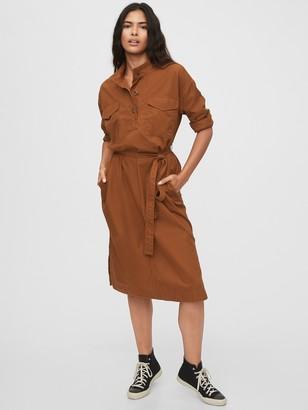 Gap Khaki Midi Shirtdress
