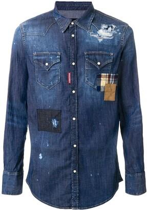 DSQUARED2 Distressed Denim Patchwork Shirt