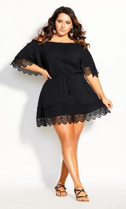 City Chic Crochet Detail Dress - black