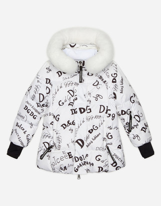 Dolce & Gabbana Padded Nylon Ski Jacket With Logo Print